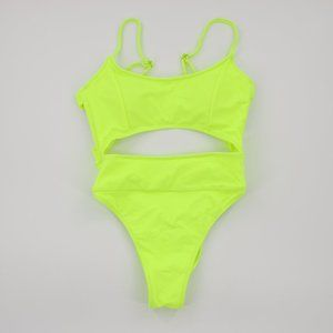 NWOT Neon Highlighter Yellow Cutout One Piece S